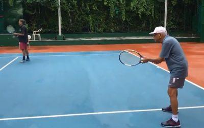 Mr Avinash Chandra Seth born in 1940 playing Lawn Tennis